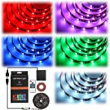 [Upgraded] RF Wireless Remote Battery & USB Powered RGB LED Strip Light,GeeKeep Waterproof Flexible LED Rope Light SMD 5050 LED Ribbon Light TV Backlight Background Bias Lighting Accent Light (6.56ft)