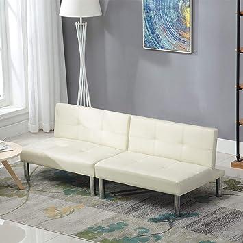 Mecor Leder Sofabett Sofa Couch Schlafcouch Schlafsofa Bettsofa In Weiss Cremefarben