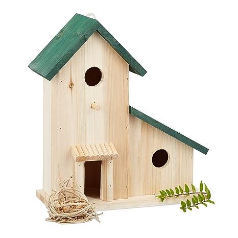 Dehner Natura Nistkasten Vogelhaus für Meisen aus Holz//Metall 19.5 x 18 x 31 cm