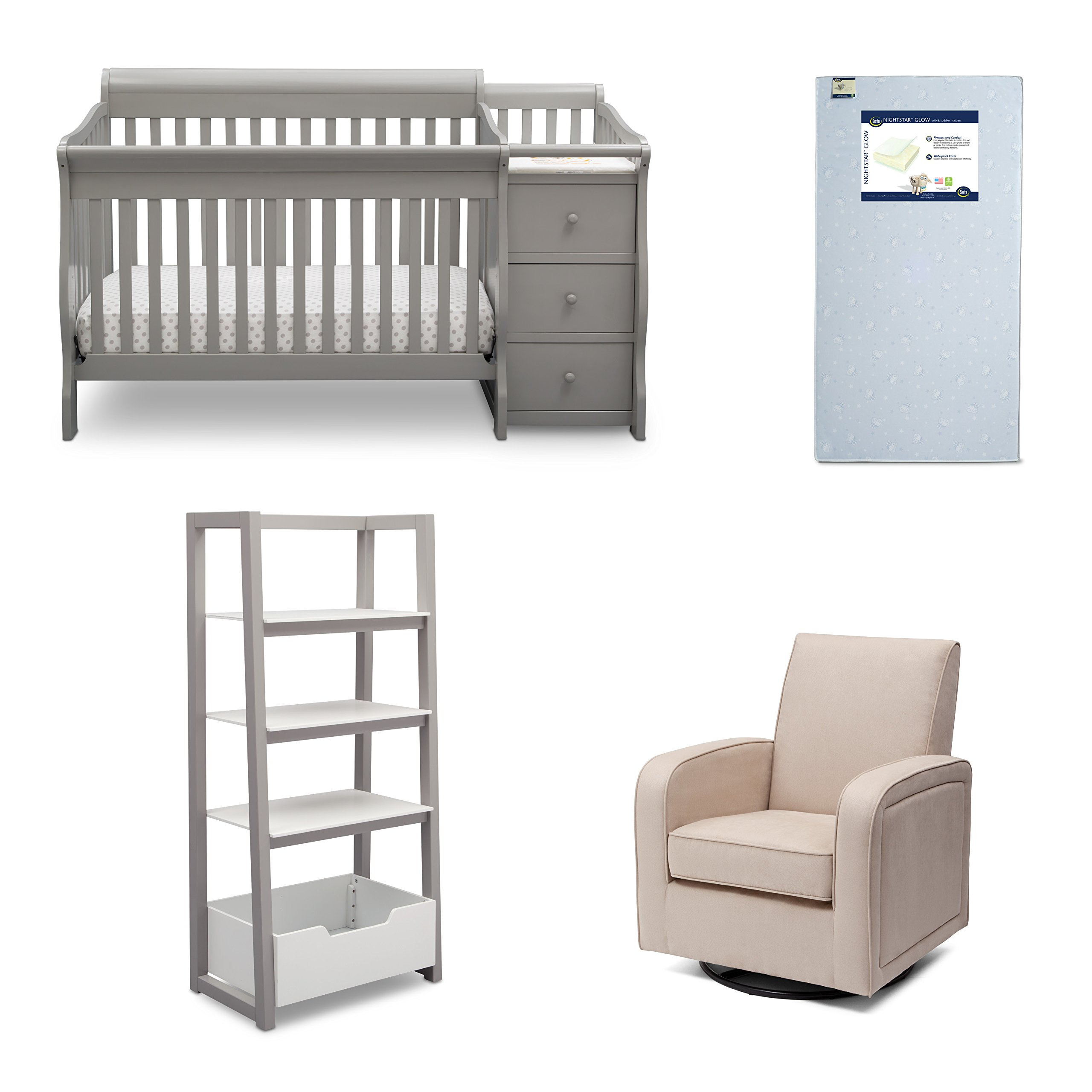 Delta Children Princeton Junction 4-Piece Nursery Furniture Set (Convertible Crib N Changer, Ladder Shelf, Glider, Crib Mattress), Grey