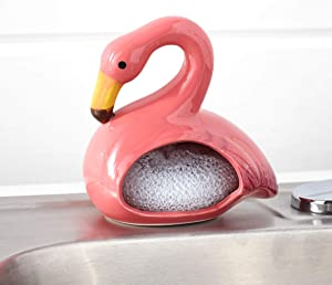 Home Essentials Flamingo Scrubby Holder with Scrubby Included, 5.25-inch Height