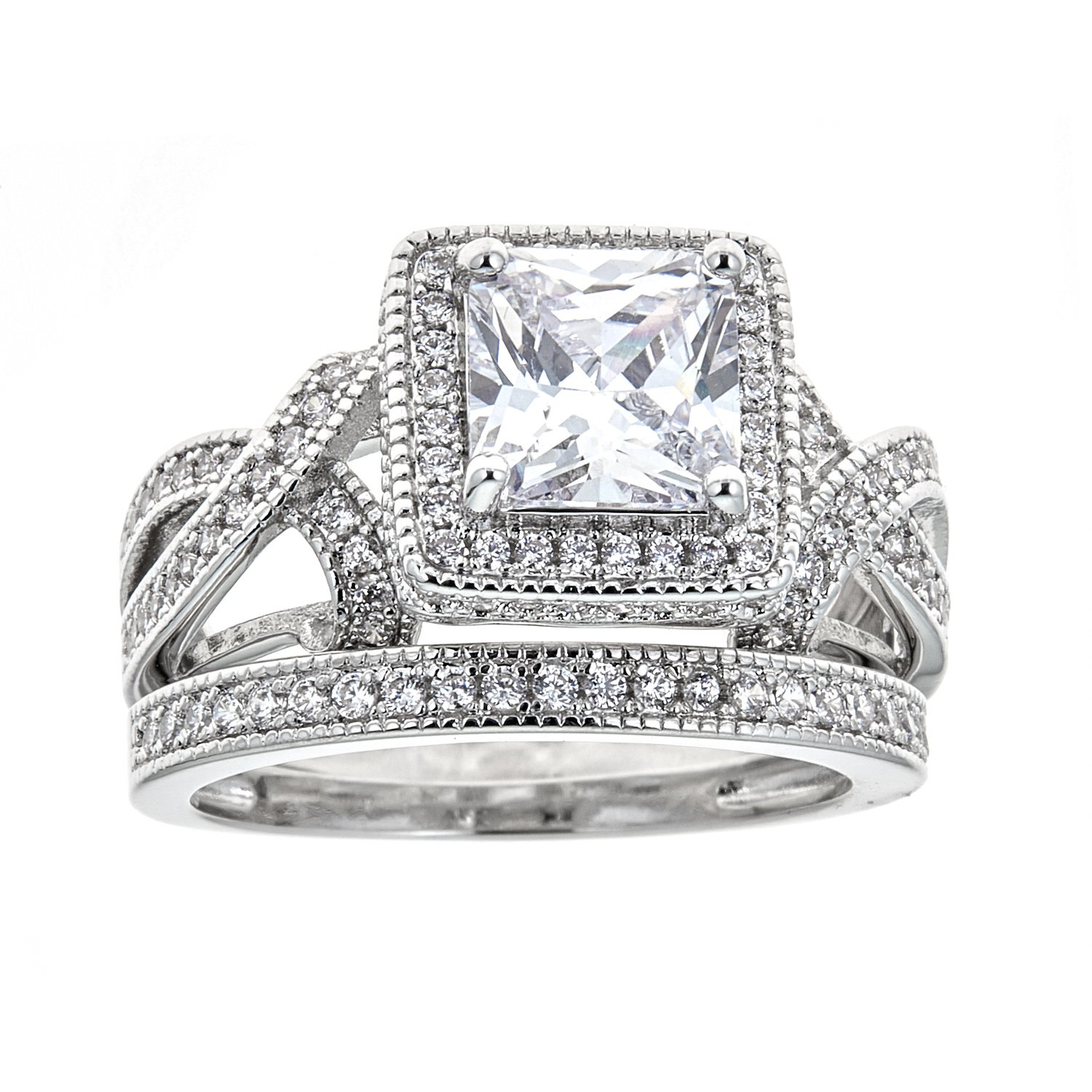 7ab9e1ae51967 Barzel White Gold Plated Princess-Cut Cubic Zirconia Bridal Ring Set