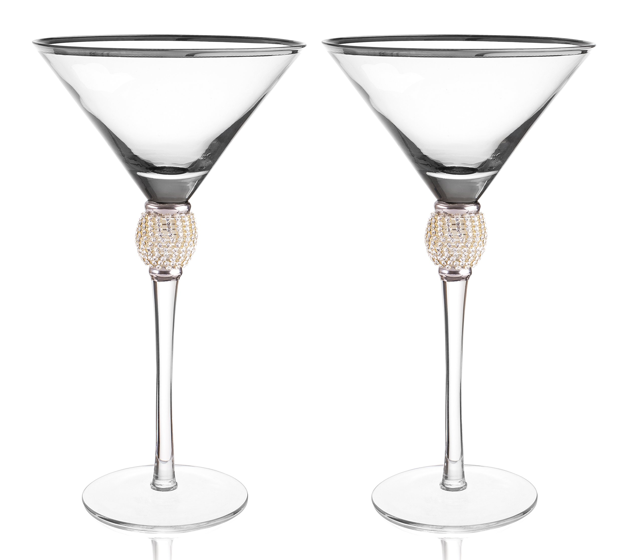 Trinkware Set of 2 Stemmed Martini Glasses - Rhinestone''DIAMOND'' Studded With Silver Rim - Long Stem, 12oz, 9-inches Tall – Elegant Glassware And Stemware