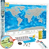 Scratch off World Map Poster - Large Detailed World Travel Map Scratch off 35x25 - Prize Winning Deluxe Silver Foil World Map Scratch off with USA/Canada States - Discovery Map