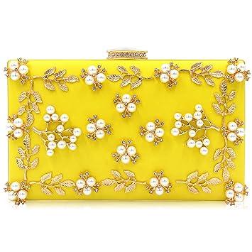 932923ac1a776 Milisente Damen Blumen Clutch Elegante Abendtasche Perle Tasche Hochzeit  Handtasche (Gelb)