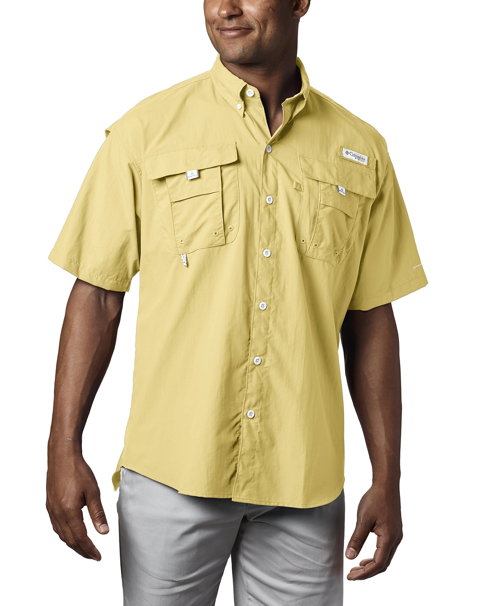Columbia Men's PFG Bahama II Short Sleeve Shirt, Sunlit, X-Small