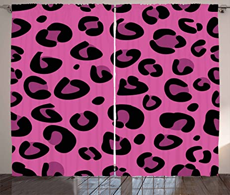 Amazon.com: Hot Pink Curtains by Ambesonne, Leopard Animal Skin ...