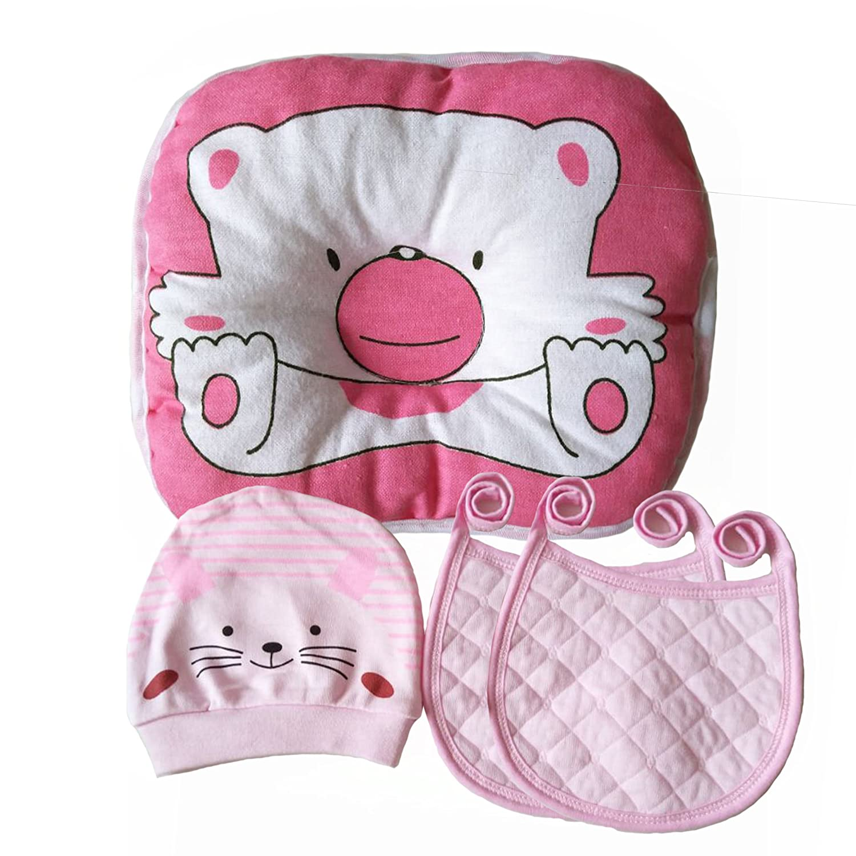 Flat Head Baby Pillow Prevention - VERSATILE & SAFE I 2 BONUS Bibs & 1 BONUS Beanie I Head Shaping & Plagiocephaly I ADJUSTABLE size Baby Bureau