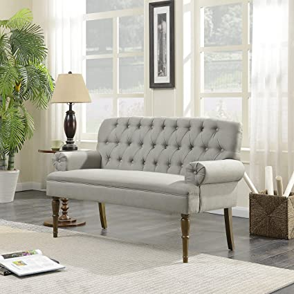 Belleze Vintage Loveseat Sofa Settee Bench With Wood Legs Living Room Linen  Fabric Button Tufted,
