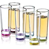 JoyJolt Hue Colored Shot glass Set, 6 Piece Shot Glasses - 2-Ounces.