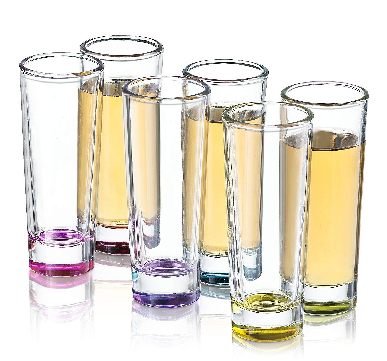 JoyJolt Hue Colored Shot glass Set 6 Piece Shot Glasses  2Ounces