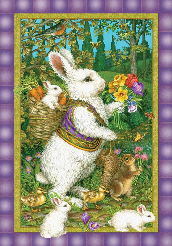 Toland Home Garden Classic Bunny 12.5 x 18 Inch Decorative Easter Rabbit Spring Flower Garden Flag