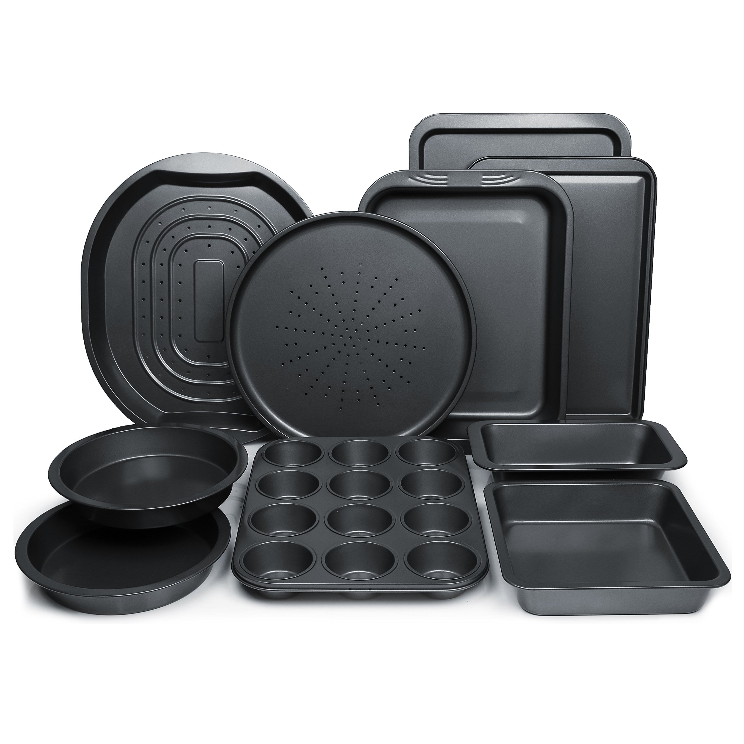 ChefLand 10-Piece Nonstick Bakeware Set | Kitchen Baking Pans | Non Stick Coating, Durable Carbon Steel, Dishwasher Safe | Oven Crisper, Pizza Tray, Cake Pans, Cookie Sheet, Muffins, Bread Loaf Pan by ChefLand