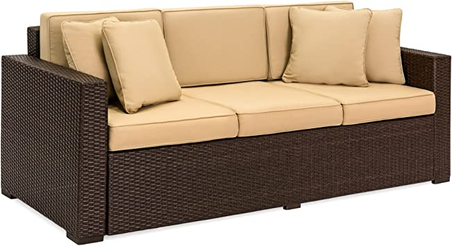 Best Choice Products Outdoor Wicker Sofa All Weather Patio Couch With Tan Cushions Seats 3 Dark Brown Garden Outdoor