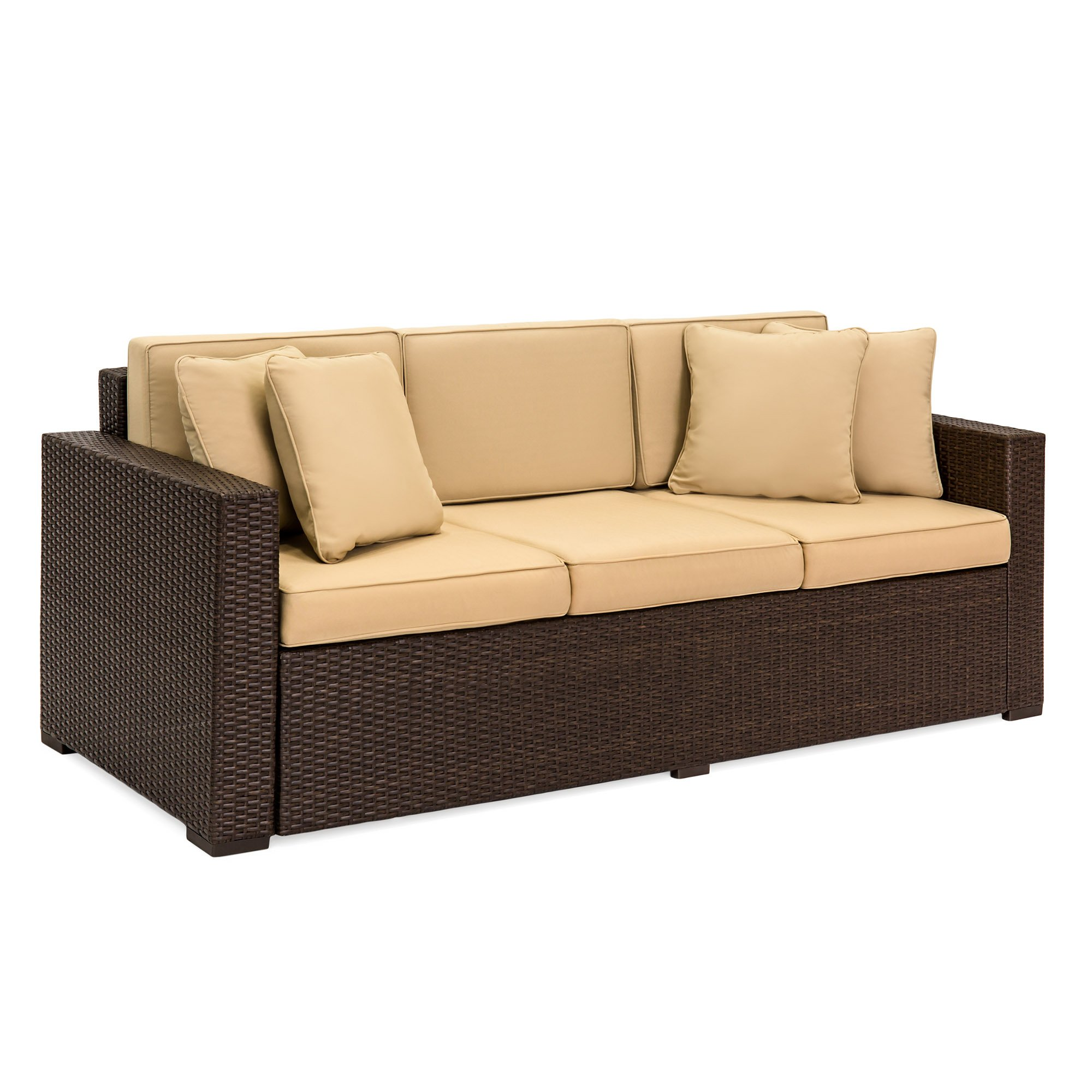 Best Choice Products 3-Seat Outdoor Wicker Sofa Couch Patio Furniture w/ Steel Frame and Removable Cushions - Brown by Best Choice Products