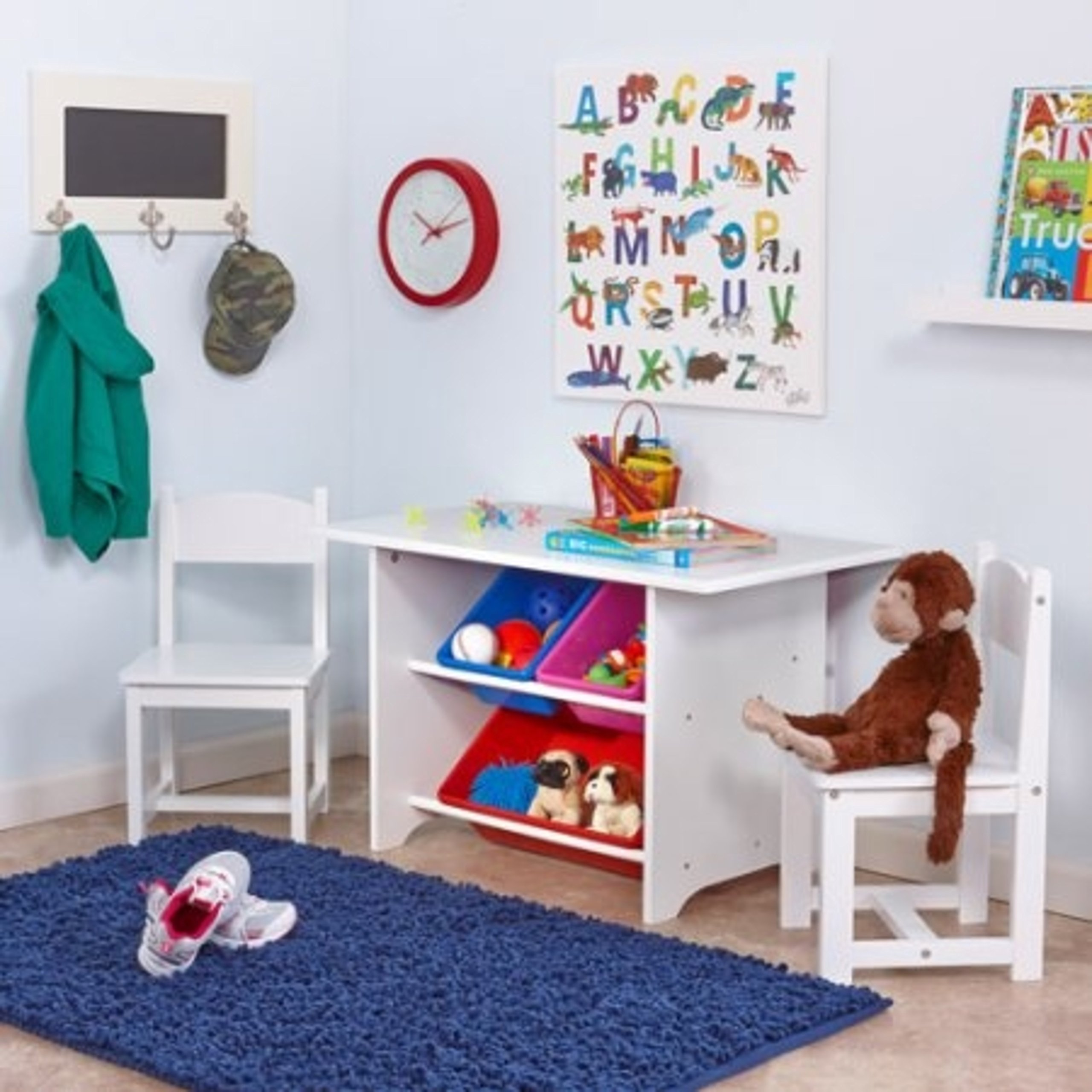 Kids Activity Table and Chairs Set with Storage Bins