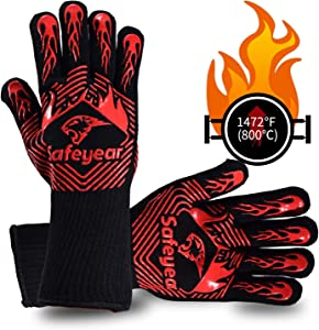 SAFEYEAR BBQ Oven Gloves, Extreme Heat Resistant 1472°F (800℃) Food Grade Kitchen Grill Gloves Non-Slip Silicone Barbecue Gloves for Picnic Fryer Barbecue Cooking Baking Welding Cutting(14 Inch)