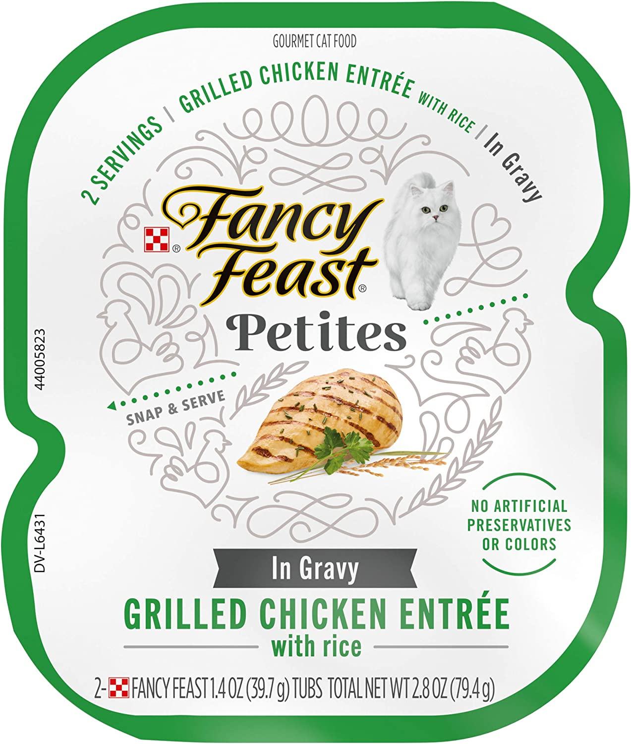 Fancy Feast Petites Gourmet Gravy Wet Cat Food, Petites Grilled Chicken with Rice Entree - (12) 2.8 oz. Tubs