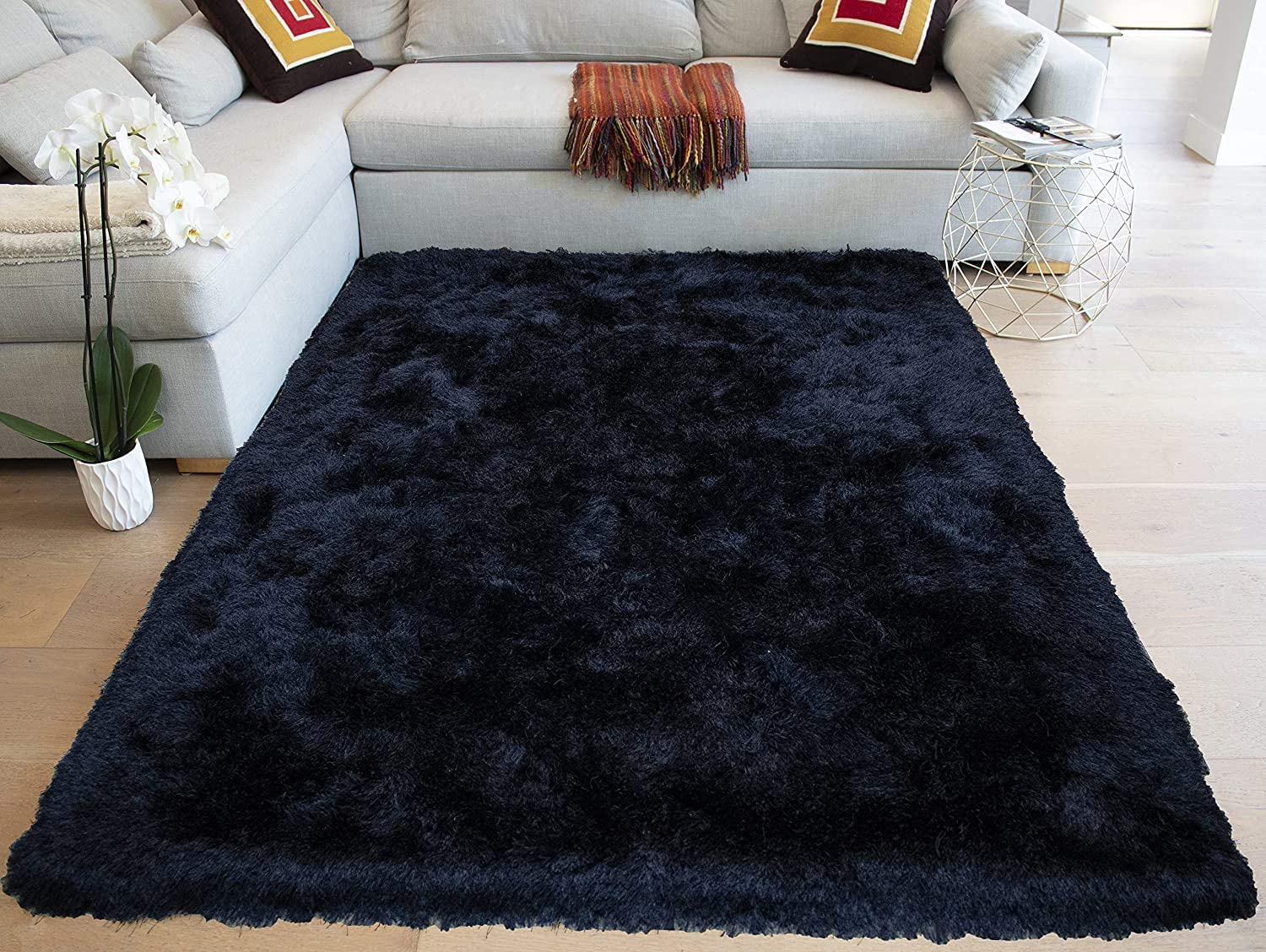 Amazon Com 8x10 Feet Black Crow Dark Night Color Area Rug Carpet Rug Solid Soft Plush Pile Shag Shaggy Fuzzy Furry Modern Contemporary Decorative Designer Bedroom Living Room Hand Woven Non Slip Canvas Backing