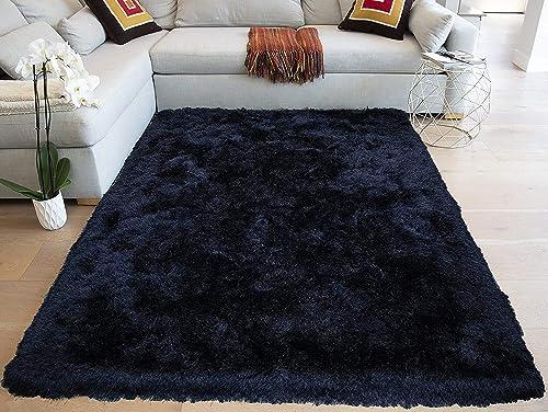 8×10 Feet Black Crow Dark Night Color Area Rug Carpet Rug Solid Soft Plush Pile Shag Shaggy Fuzzy Furry Modern Contemporary Decorative Designer Bedroom Living Room Hand Woven Non-Slip Canvas Backing