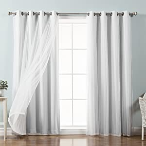 "Best Home Fashion Mix & Match Tulle Sheer Lace & Blackout Curtain Set - Antique Bronze Grommet Top - Vapor - 52""W X 84""L - (2 Curtains and 2 Sheer curtains)"