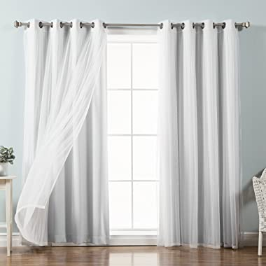 Best Home Fashion Mix & Match Tulle Sheer Lace & Blackout Curtain Set - Antique Bronze Grommet Top - Vapor - 52  W X 84  L - (2 Curtains and 2 Sheer Curtains)