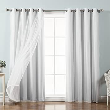 Beautiful Best Home Fashion Mix U0026 Match Tulle Sheer Lace U0026 Blackout Curtain Set    Antique Bronze