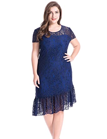 Chicwe Women's Lined Stretch Floral Lace Plus Size Sheath Dress With  unequal Hem Navy Blue 2X