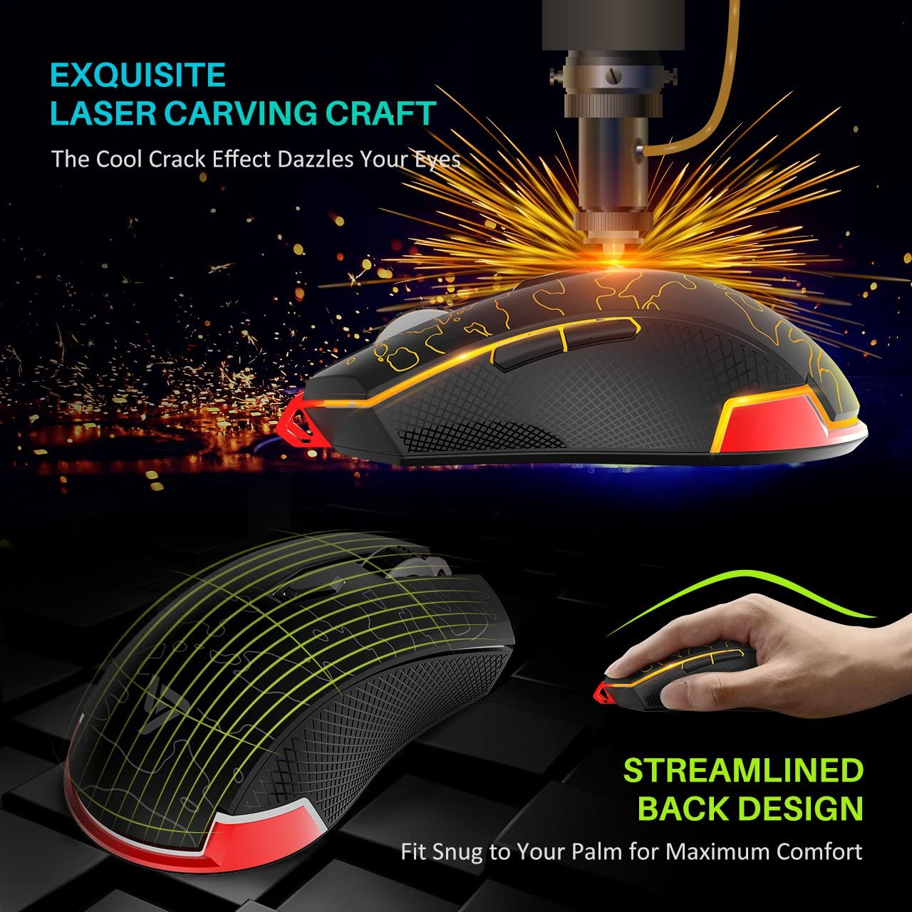 Ergonomic Grips VicTsing Backlit Gaming Wired Mouse High Up to 5500 DPI Windows Vista 6 Adjustable DPI Levels 3 Changeable Breathing Light Linux 6 Buttons Design Compatible Mac OS
