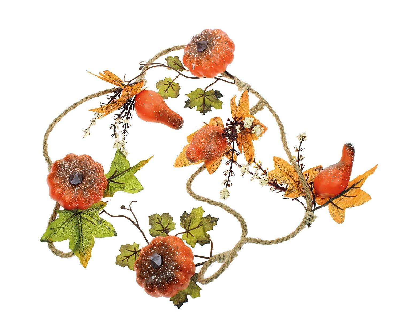 2 pz lunghezza 110 cm ghirlanda autunnale foglie di acero e zucche per il fai da te con foglie dautunno per decorazione rami zucche decorative Halloween centrotavola autunnali ornamentali corona