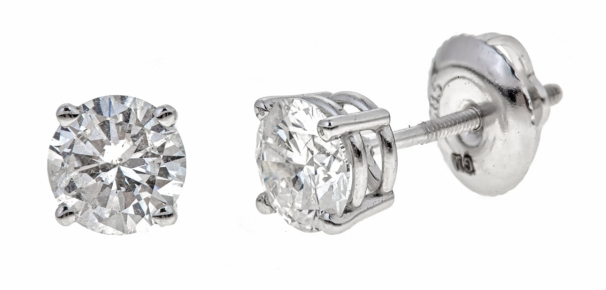AGS Certified 14k White Gold Round-Cut Diamond Stud Earrings (1 1/2cttw, K-L Color, I2 Clarity)
