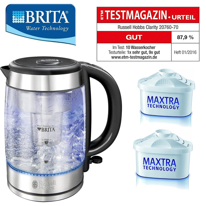 Brita Wasserfilterkocher Wasserkocher Edelstahl Glas Incl 2