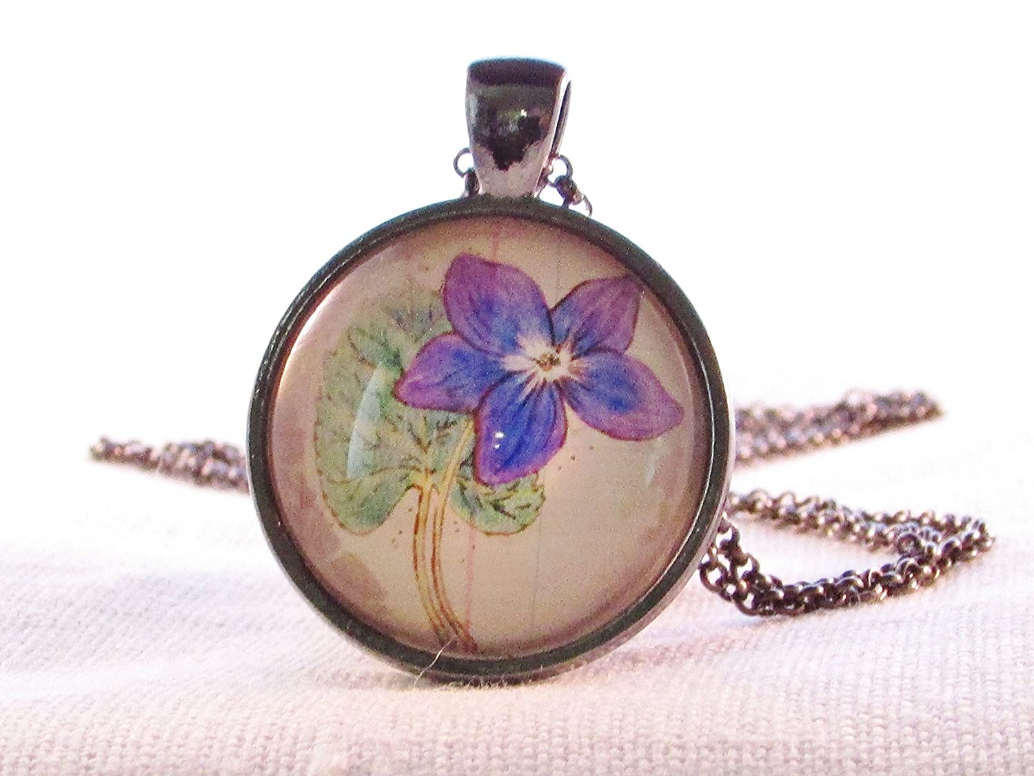 February Birth Month Flower Violet Necklace Round Glass Pendant