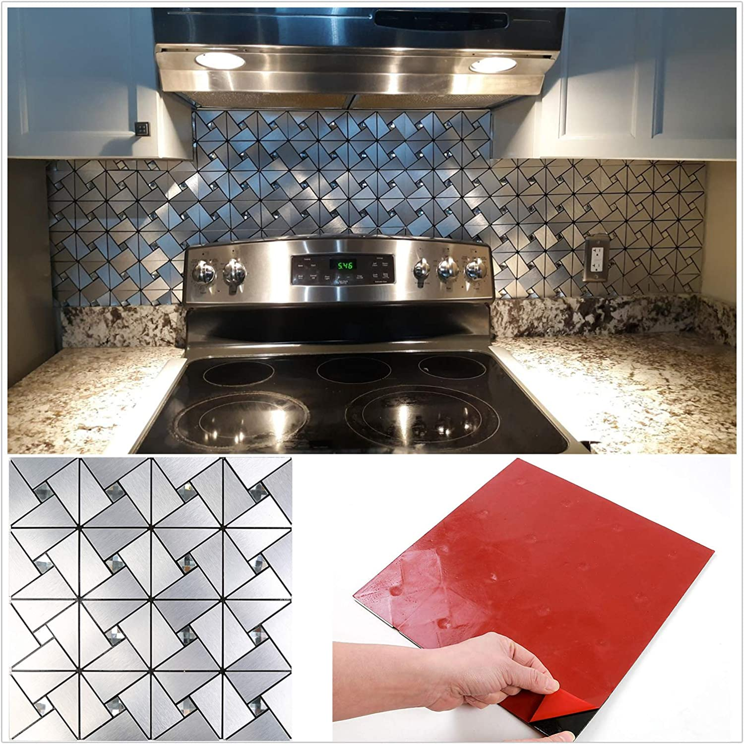 - Amazon.com: HomeyMosaic Peel And Stick Tile Backsplash Stick On Kitchen  Wall Decor Aluminum Surface Metal Mosaic Smart Tiles Wall Sticker,Windmill  Puzzle Glass Mixed(12
