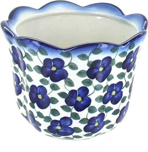 Blue Rose Polish Pottery Violets Planter