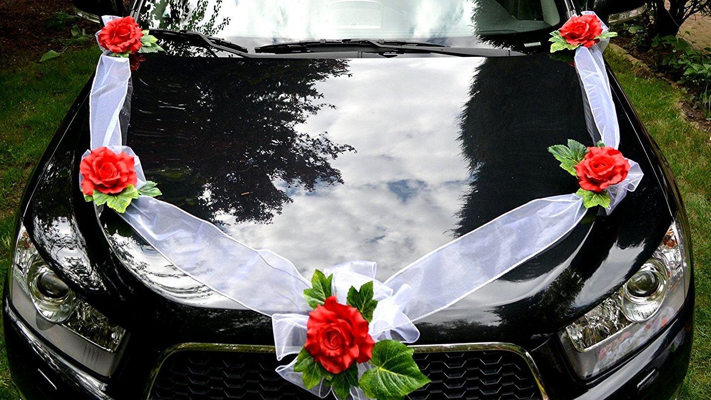AMP Organza Guirlande 5 Roses + 4 Roses pour ouvre-Porte Dé coration de Voiture APM