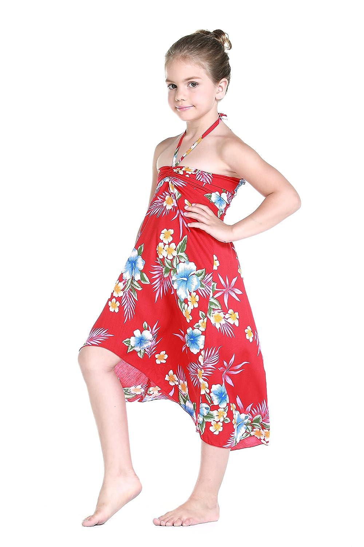 Niña hawaiano Vestido de de mariposa en Vestido Rojo del B07CK3XKHV ...