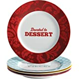 "Cake Boss Serveware 4-Piece Porcelain Dessert Plate Set, ""Patterns and Quotes"""