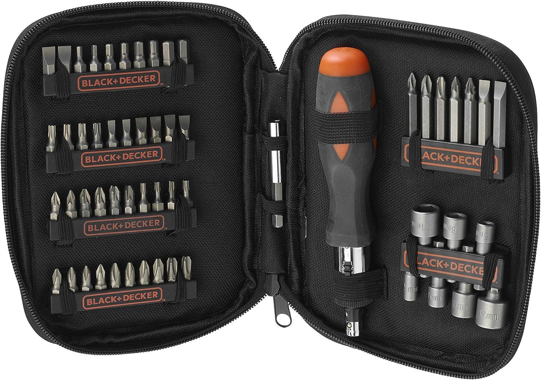 BLACK+DECKER A7104-XJ - Kit para atornillar 56 piezas, incluye destornillador tipo carraca