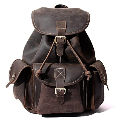 Buckle-Flap Leather Backpack 33d636c7f2d45