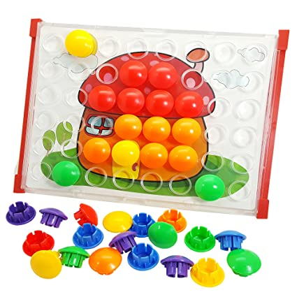 Amazon Com Skoolzy Toddler Toys Peg Button Art Fine Motor Skills