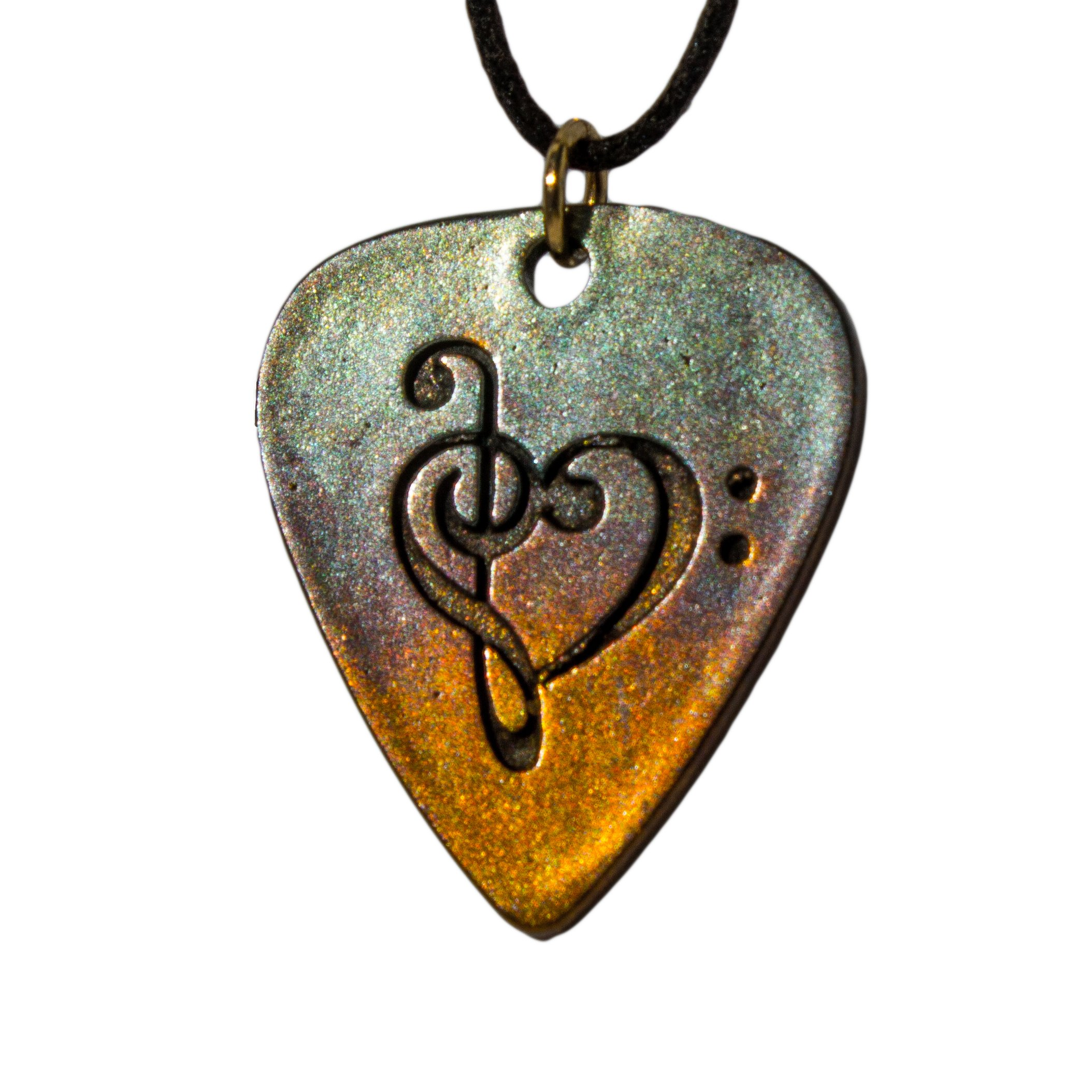 From War to Peace Guitar Pick Rock and Roll Patina Pendant Necklace on Adjustable Natural Fiber Cord