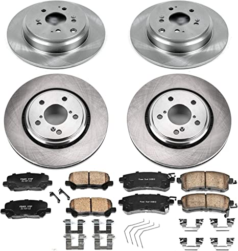 Power Stop KOE7253 Autospeciality Replacement Front and Rear Brake Kit OE Rotors /& Ceramic Brake Pads