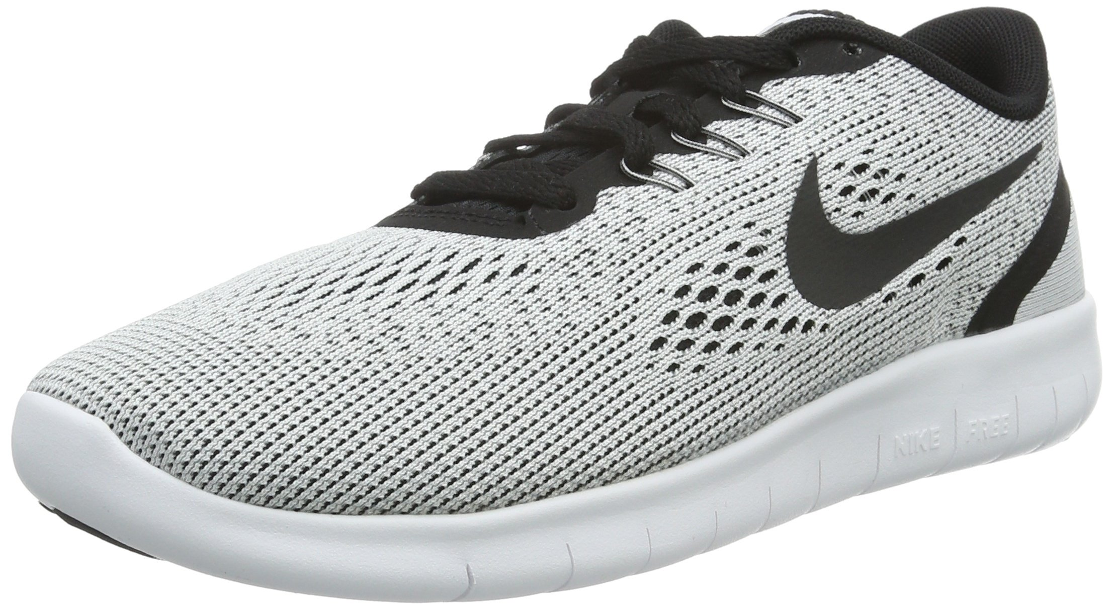 NIKE Youth Free RN Running Shoes-White/Black-3.5 by NIKE