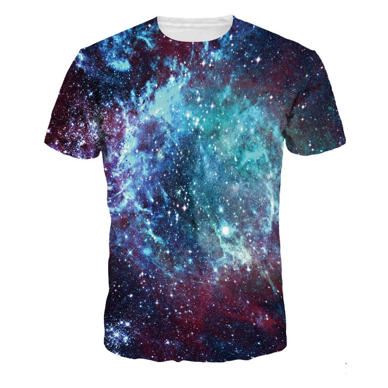 7be195777 Amazon.com  LDENXIN Blue Galaxy Nebula O-Neck Short T-Shirt Sleeve Sport  Baseball Jersey Top Six Size  Clothing