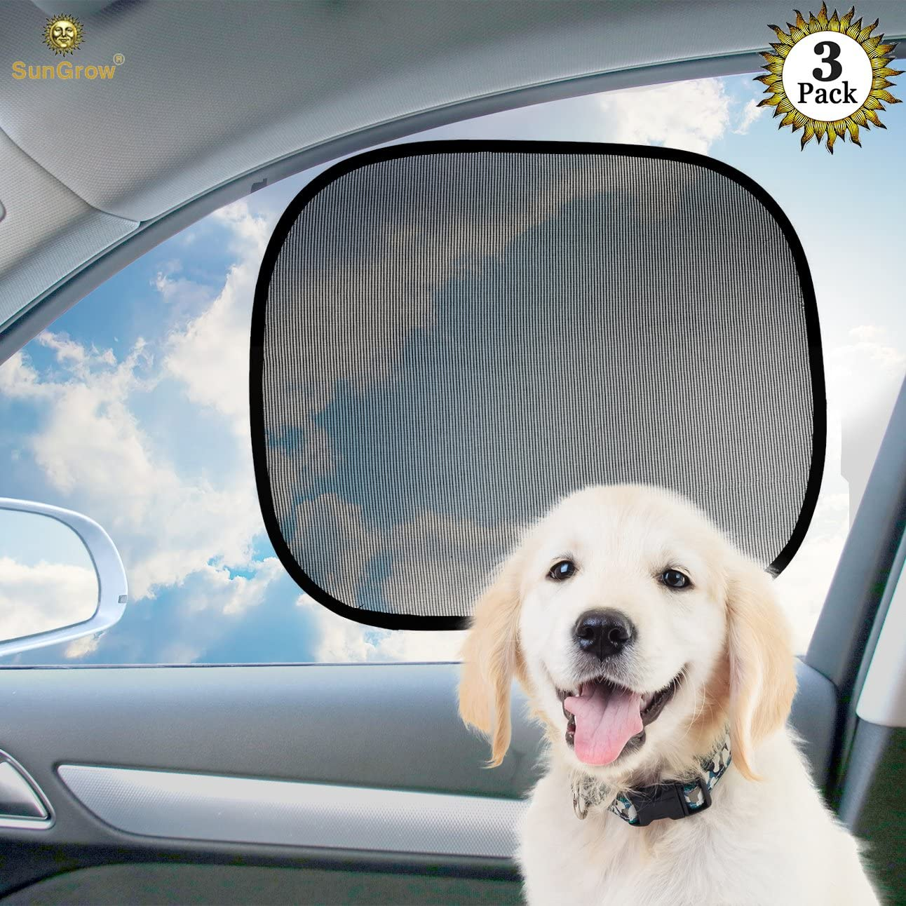 SunGrow Car Sun Shade, Covers and Protects Passengers, Cell Phones, and Interior from Harmful Rays, Ideal for Side and Rear Windows, Keep Interior Cool, Premium Quality PVC, 3 Pack