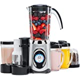 Andrew James Smoothie Maker & Blender, Grinder, Ice Crusher & Juicer with Blending Jug, 2 x 600ml Drinking Cups & 2 x Blending Cups, 1 Litre Max Capacity, 2 Speed Settings & Pulse Function, 220 Watts