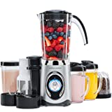 Andrew James 4 in 1 Smoothie Maker, 1.5L Blender, Grinder And Juicer with 2x 600ml Drinks Cups (Silver)