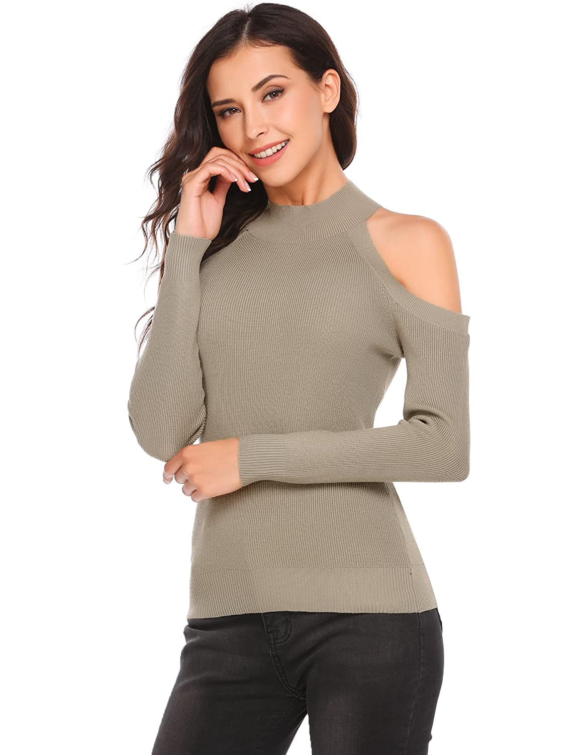 1ee9b1ac9f2c0a Zeagoo Womens Autumn Cold Shoulder High Neck Knitted Tops Pullover Sweater