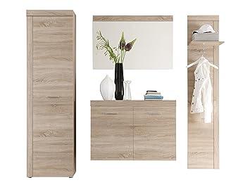 Trendteam Smart Living Garderoben Set 4 Teilig, Eiche Sägerau Hell, 222 X